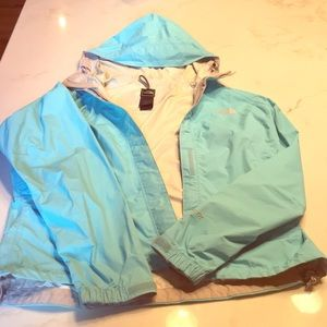 Northface light blue water resistant  rain coat